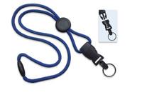 "2135-4614 Royal Blue 1/4"" (6 mm) Round Lanyard W/ Breakaway, Round Slider & Detach Split Ring - Qty. 100"