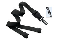 "2135-4653 Black 5/8"" Flat Tubular Lanyard W/ Breakaway & Detach Plastic Swivel Hook - Qty. 100"
