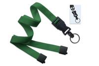 "2135-4690 Green 5/8"" Flat Tubular Lanyard W/ Breakaway & Detach Split Ring - Qty. 100"