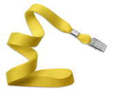 "2136-3559 5/8"" Yellow 35"" Standard Flat Woven Lanyard with NPS Bull Dog Clip - Qty. 100"