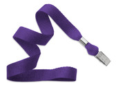"2136-3563 Purple 5/8"" Microweave Polyester Lanyard W/ Nickel-plated Steel Bulldog Clip - Qty. 100"