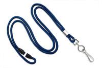 """2137-2003 Navy Blue Round 1/8"""" Lanyard W/ Breakaway & Nickel-plated Steel Swivel-hook - Qty. 100"""