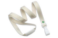"2137-2062 Natural Recycled PET 3/8"" Flat Lanyard W/ Breakaway/""no-twist"" Wide Plastic Hook - Qty. 100"