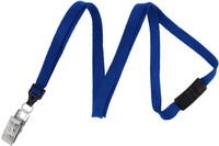 "2137-6002 Royal Blue 3/8"" (10 mm) Flat Braid Breakaway Woven Lanyard W/ A Universal Slide Adapter & Nickel-plated Steel Bulldog Clip - Qty. 100"