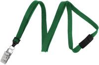 "2137-6004 Green 3/8"" (10 mm) Flat Braid Breakaway Woven Lanyard W/ A Universal Slide Adapter & Nickel-plated Steel Bulldog Clip - Qty. 100"