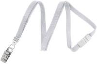 "2137-6008 White 3/8"" (10 mm) Flat Braid Breakaway Woven Lanyard W/ A Universal Slide Adapter & Nickel-plated Steel Bulldog Clip - Qty. 100"