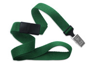 "2138-6004 Green 5/8"" (16 mm) Microweave Polyester Breakaway Lanyard W/ A Universal Slide Adapter And Nickel-plated Steel Bulldog Clip - Qty. 100"