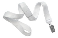 "2138-6008 White 5/8"" Microweave Polyester Breakaway Lanyard W/ Slide Adapter - Qty. 100"