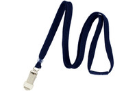 "BL-34K6-NBLU Navy Blue 3/8"" Lanyard With Breakaway and Card Clamp - Qty. 100"