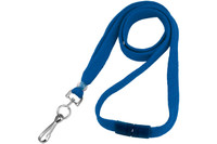 """BL-34S-RBLU Royal Blue 3/8"""" Lanyard with Breakaway and Swivel Hook - Qty. 100"""