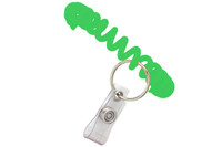 "2140-6204 Green Wrist Coil W/ Clear Vinyl Strap And 7/8"" Nickel-plated Split Ring - Qty. 250"
