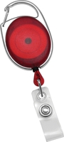 2120-7056 Translucent Red Carabiner Badge Reel with Clear Vinyl Strap - Qty. 100