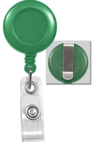 2120-3034 - Green Badge Reel W/ Reinforced Vinyl Strap & Belt Clip - Qty. 100