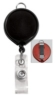 2124-3031 Black Billboard Badge Reel W/ Clear Vinyl Strap & Belt Clip - Qty. 100