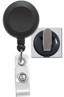2120-4701 Black Badge Reel with Clear Vinyl Strap & Spring Clip - Qty. 100