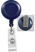 2120-4702 Blue Badge Reel W/ Clear Vinyl Strap & Spring Clip - Qty. 100