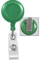 2120-4704 Green Badge Reel with Clear Vinyl Strap & Spring Clip - Qty. 100