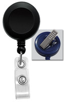 2120-7601 Black Round Badge Reel, w/ Clear Vinyl Strap & Swivel Spring Clip - Qty. 100
