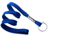 "2135-3652 Royal Blue 3/8"" Flat Braid Lanyard with NPS Split Ring - Qty. 100"