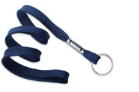 "2135-3653 Navy Blue 3/8"" Flat Braid Lanyard with NPS Split Ring - Qty. 100"