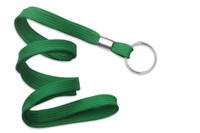"2135-3654 Green 3/8"" Flat Braid Lanyard with NPS Split Ring - Qty. 100"