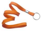 "2135-3655 Orange 3/8"" Flat Braid Lanyard with NPS Split Ring - Qty. 100"