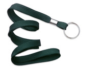 "2135-3664 Forest Green 3/8"" Flat Braid Lanyard with NPS Split Ring - Qty. 100"
