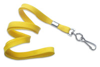 "2135-3509 Yellow 3/8"" Flat Braid Woven Lanyard W/ Nickel-plated Steel Swivel Hook - Qty. 100"