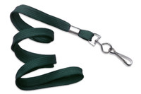 "2135-3514 Forest Green 3/8"" Flat Braid Woven Lanyard W/ Nickel-plated Steel Swivel Hook - Qty. 100"