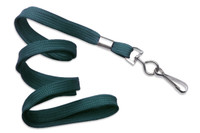 "2135-3516 Teal 3/8"" Flat Braid Woven Lanyard W/ Nickel-plated Steel Swivel Hook - Qty. 100"