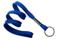 "2135-3672 Royal Blue 3/8"" Flat Braid Woven Lanyard W/ Black-oxide Split Ring - Qty. 100"