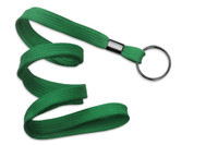 "2135-3674 Green 3/8"" Flat Braid Woven Lanyard W/ Black-oxide Split Ring - Qty. 100"