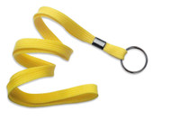 "2135-3679 Yellow 3/8"" Flat Braid Woven Lanyard W/ Black-oxide Split Ring - Qty. 100"