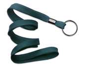 "2135-3686 Teal 3/8"" Flat Braid Woven Lanyard W/ Black-oxide Split Ring - Qty. 100"