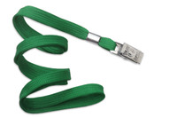 "2135-3554 Green 3/8"" Flat Braid Woven Lanyard W/ Nickel-plated Steel Bulldog Clip - Qty. 100"