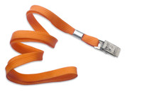 "2135-3555 Orange 3/8"" Flat Braid Woven Lanyard W/ Nickel-plated Steel Bulldog Clip - Qty. 100"
