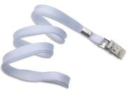 "2135-3558 White 3/8"" Flat Braid Woven Lanyard W/ Nickel-plated Steel Bulldog Clip - Qty. 100"