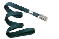 "2135-3566 Teal 3/8"" Flat Braid Woven Lanyard W/ Nickel-plated Steel Bulldog Clip - Qty. 100"