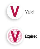 "06122 Red ""V"" Expiring TIMEspot Frontpart Indicator -One Day Expiration - Pkg. of 1,000"
