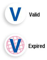 "06128 Blue ""V"" Expiring TIMEspot Frontpart Indicator -One Day Expiration - Pkg. of 1,000"