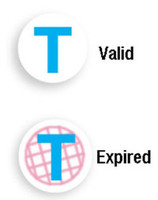"06134 Blue ""T"" Expiring TIMEspot Frontpart Indicator -One Day Expiration - Pkg. of 1,000"