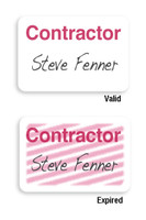 """06105 Manual Expiring TIMEbadge Frontpart """"CONTRACTOR"""" One-day Expiration. - Pkg of 1,000"""