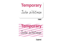 "02004 ONEstep Self-expiring TIMEbadge Adhesive ""TEMPORARY"" One Day Expiration- Manually Issued. - Pkg of 500"