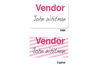"02007 Onestep Self-expiring TIMEbadge Adhesive ""VENDOR"" One Day Expiration- Manually Issued. - Pkg of 500"