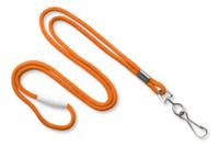 """2137-2005 Orange Round 1/8"""" (3 mm) Lanyard W/ Breakaway & Nickel-plated Steel Swivel-hook - Qty. 100"""