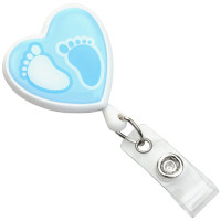 2120-7633 Heart-Shaped Footprint Badge Reel - Blue Label - Qty. 100