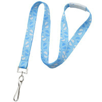 """2138-5280 Blue 5/8"""" (16mm) Baby Footprint Lanyard with white breakaway and NPS Swivel-Hook - Qty. 100"""
