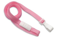 "2137-4753 Pink 3/8"" (10 mm) Flat Braid Breakaway Lanyard with Wide ""No-Twist"" Plastic Hook - Qty. 100"