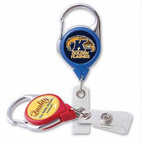 704-CLP Solid Color MegaAD Carabiner Pull Reel with Back Clip - Qty. 100