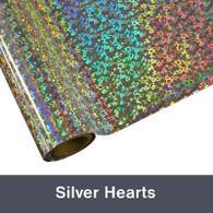 "Silver Hearts Textile Foil 12"" x 1 yd"